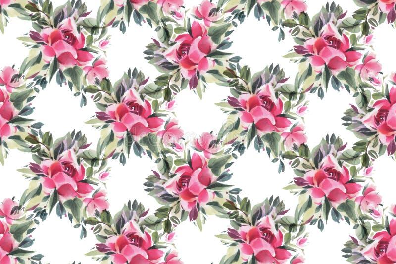 Naadloos patroon met waterverfbloemen vector illustratie