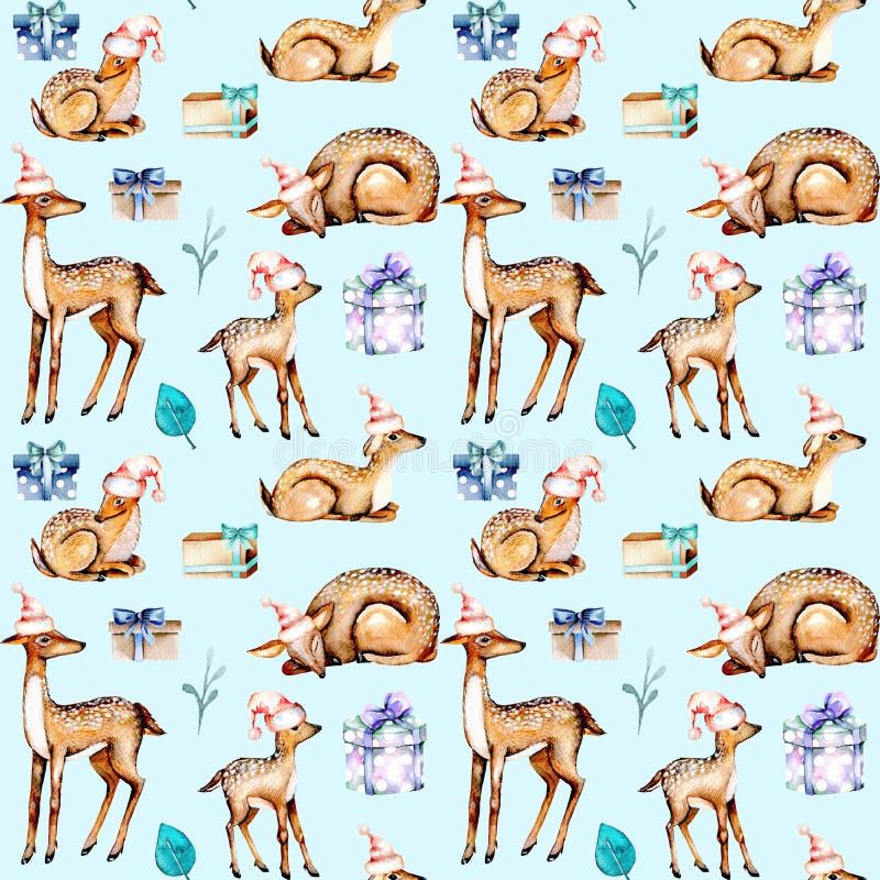 Naadloos patroon met waterverfdeers in Kerstmishoeden, babydeers en giftdozen vector illustratie