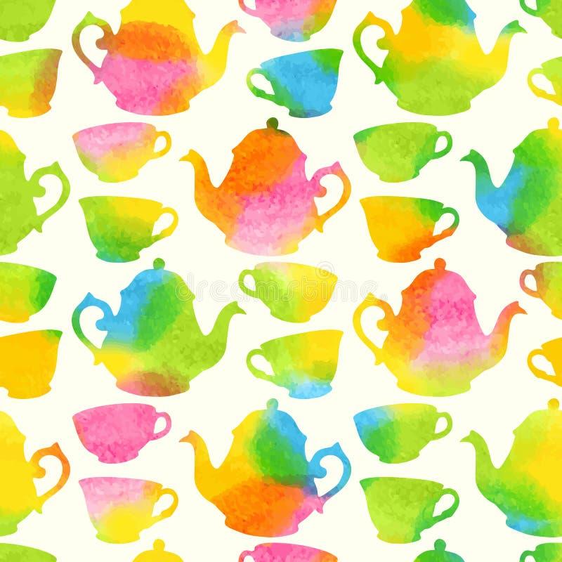Naadloos patroon met waterverfkoppen en theepotten vector illustratie