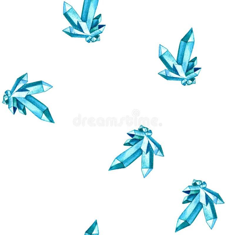 Naadloos patroon met waterverfmineralen, blauwe cristals