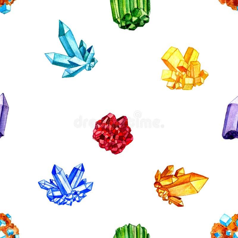 Naadloos patroon met waterverfmineralen, gemmen, kristallen