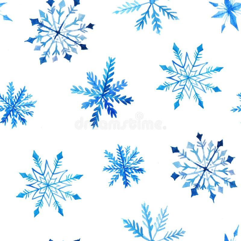 Naadloos patroon met waterverfsneeuwvlokken stock illustratie