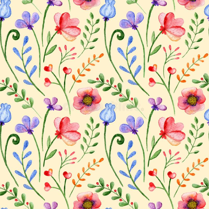 Naadloos patroon met waterverftakken, bloemen en bessen op een geel royalty-vrije illustratie