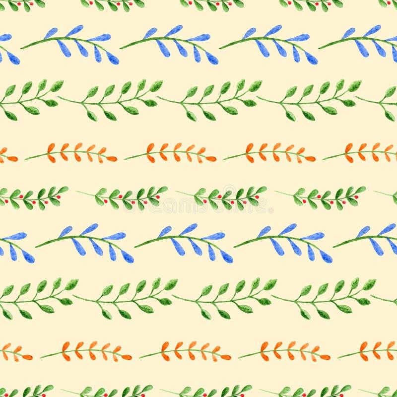 Naadloos patroon met waterverftakken op gele achtergrond stock illustratie