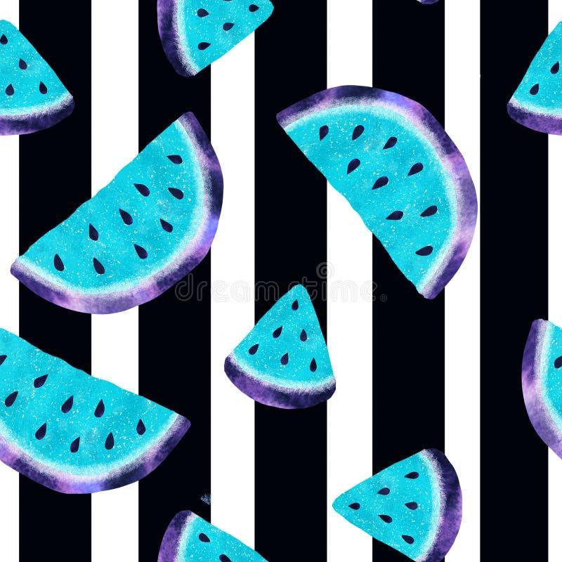 Naadloos patroon met waterverfwatermeloen royalty-vrije stock afbeeldingen