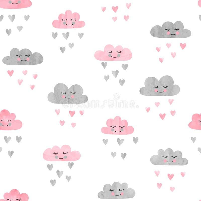 Naadloos patroon met waterverfwolken en regen van harten vector illustratie