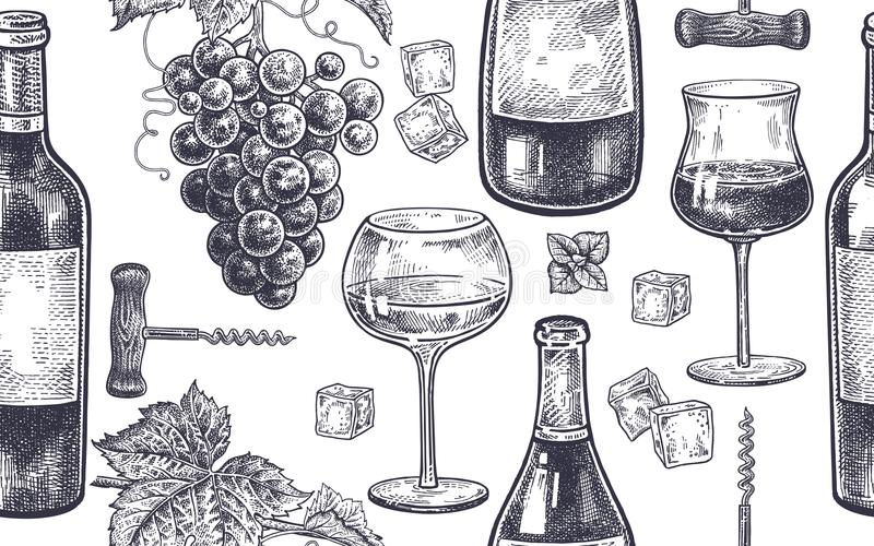 Naadloos patroon met wijn het drinken stock illustratie