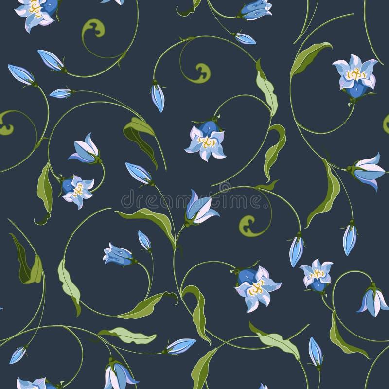 Naadloos patroon met wilde die klokbloemen, in Keltisch ornament worden gevlecht vector illustratie
