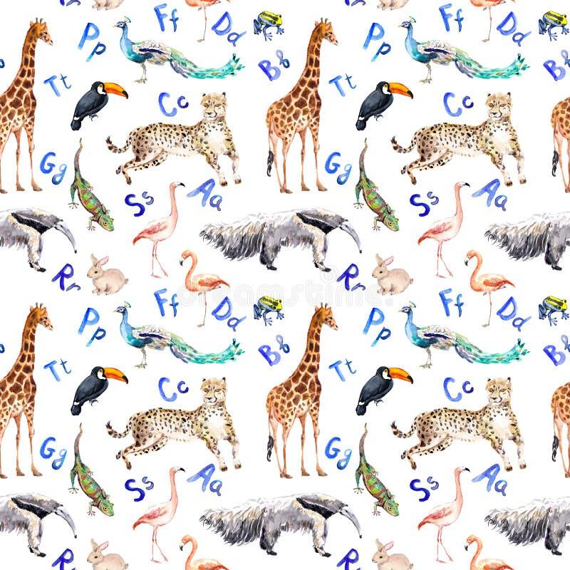 Naadloos patroon met wilde dieren, vogels en alfabetbrieven Dierentuinwaterverf vector illustratie