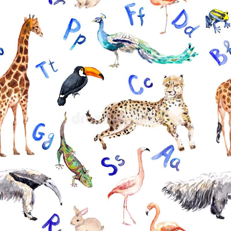 Naadloos patroon met wilde dieren, vogels en alfabetbrieven Dierentuinwaterverf royalty-vrije illustratie