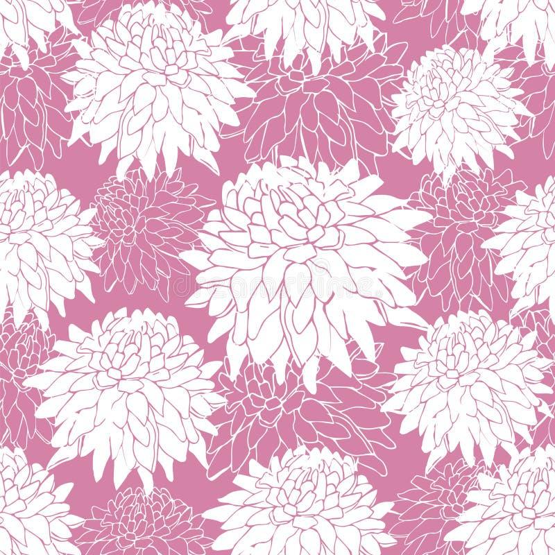Naadloos patroon met witte asters op roze achtergrond Bloempatroon, contour De tekening van de hand Druk op stof Vector stock illustratie