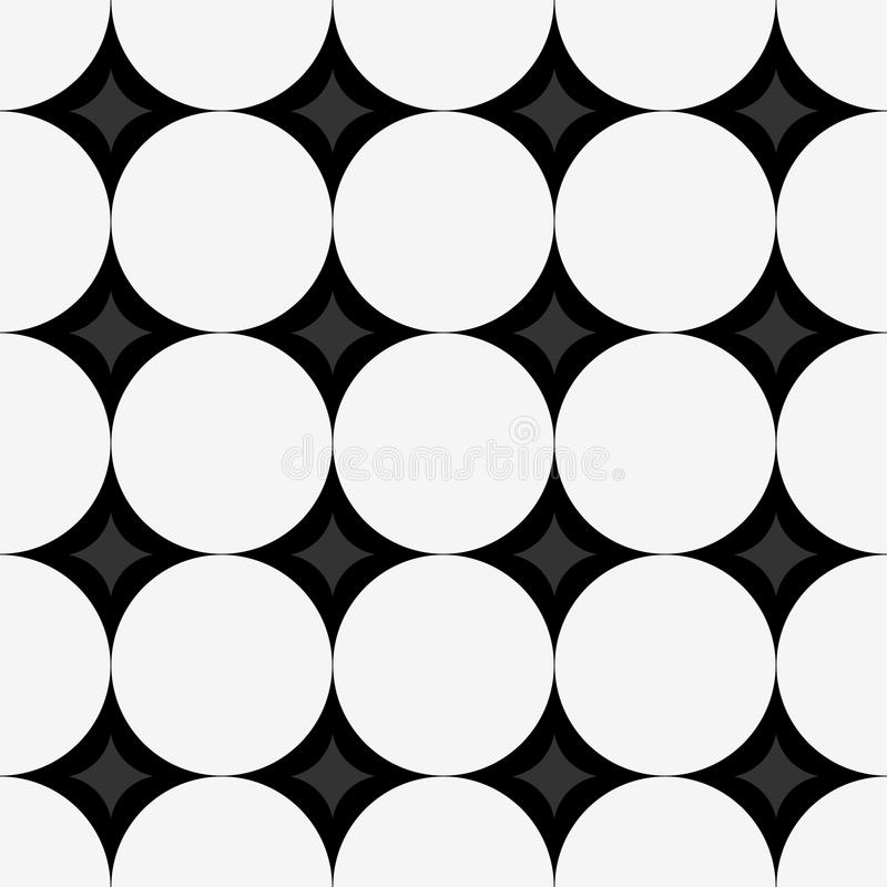Naadloos patroon met witte cirkels en diamanten op zwarte achtergrond stock illustratie