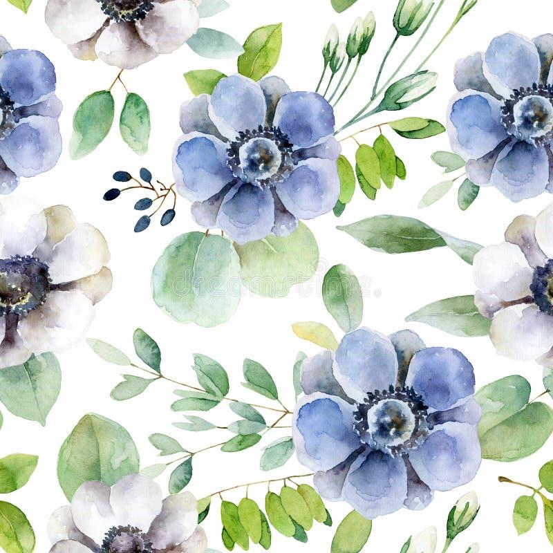 Naadloos patroon met witte en violette anemonen vector illustratie
