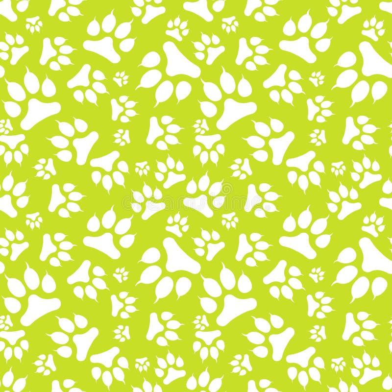Naadloos patroon met witte hondvoetafdruk en klauwen die op groene achtergrond worden geïsoleerd vector illustratie