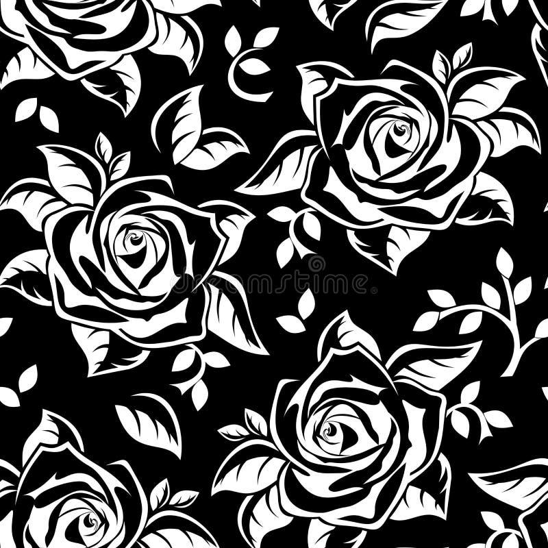 Naadloos patroon met witte silhouetten van rozen op zwarte. stock illustratie