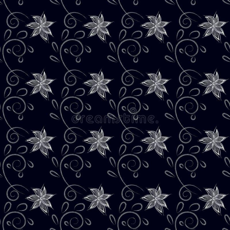 Naadloos patroon met witte uitgebroede bloemen en krullen met bladeren, achtergrondzwarte royalty-vrije stock fotografie