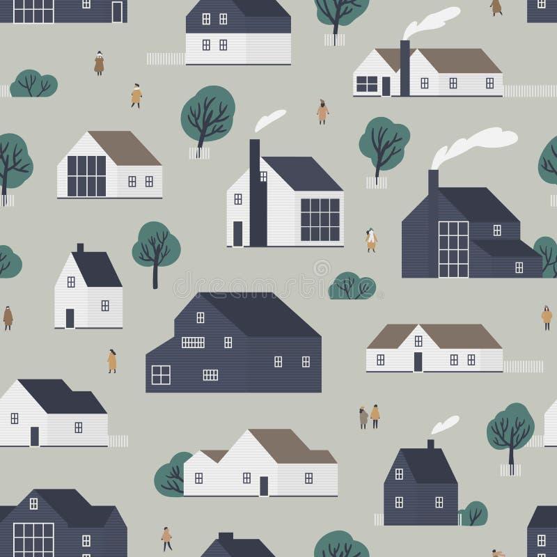 Naadloos patroon met woonhuizen of dorpsplattelandshuisjes in Scandic-stijl en lopende mensen Achtergrond met in de voorsteden royalty-vrije illustratie