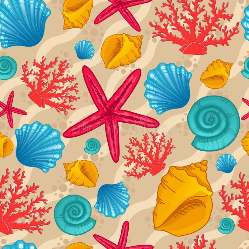 Naadloos patroon met zeeschelp stock illustratie
