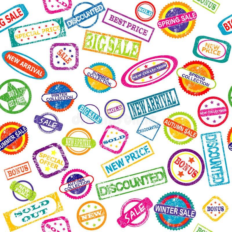 Naadloos patroon met zegels met korting en verkoopberichten stock illustratie