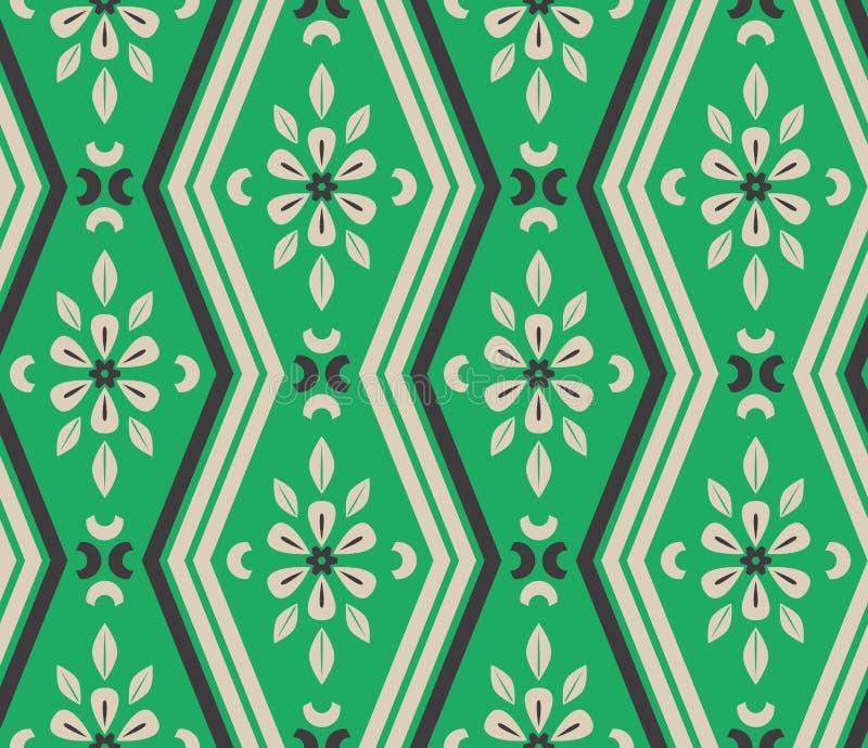 Naadloos patroon met zigzaglijnen en bloemenelementen stock illustratie