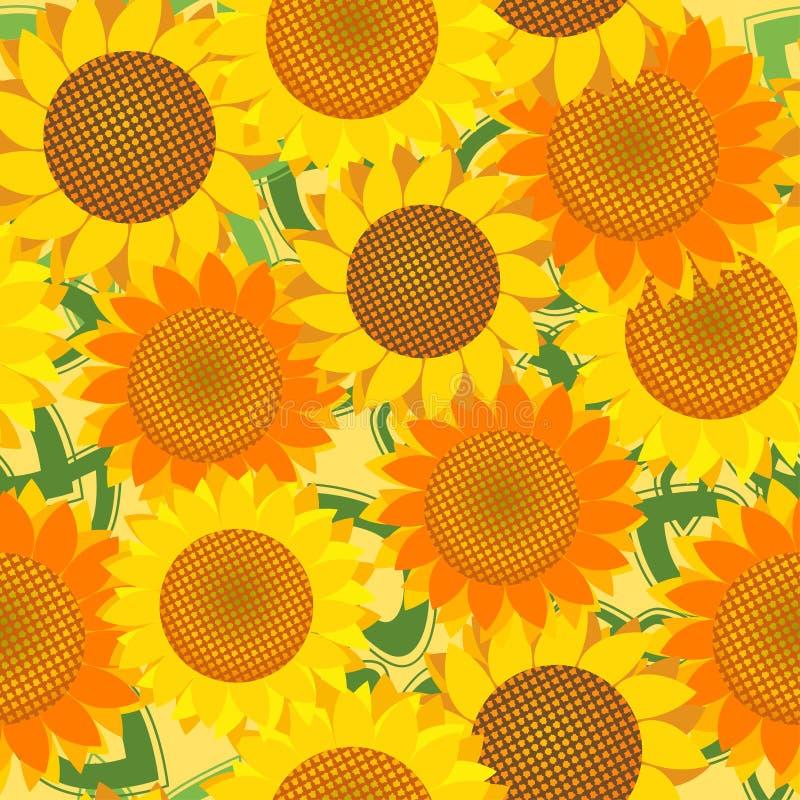 Naadloos patroon met zonnebloemen stock illustratie