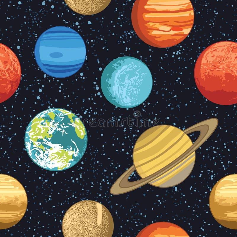 Naadloos patroon met zonnestelselplaneten royalty-vrije illustratie