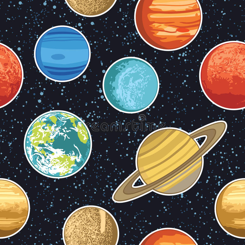 Naadloos patroon met zonnestelselplaneten vector illustratie