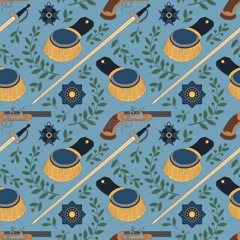 Naadloos patroon met zwaarden, epauletten, pistolen en medailles royalty-vrije illustratie