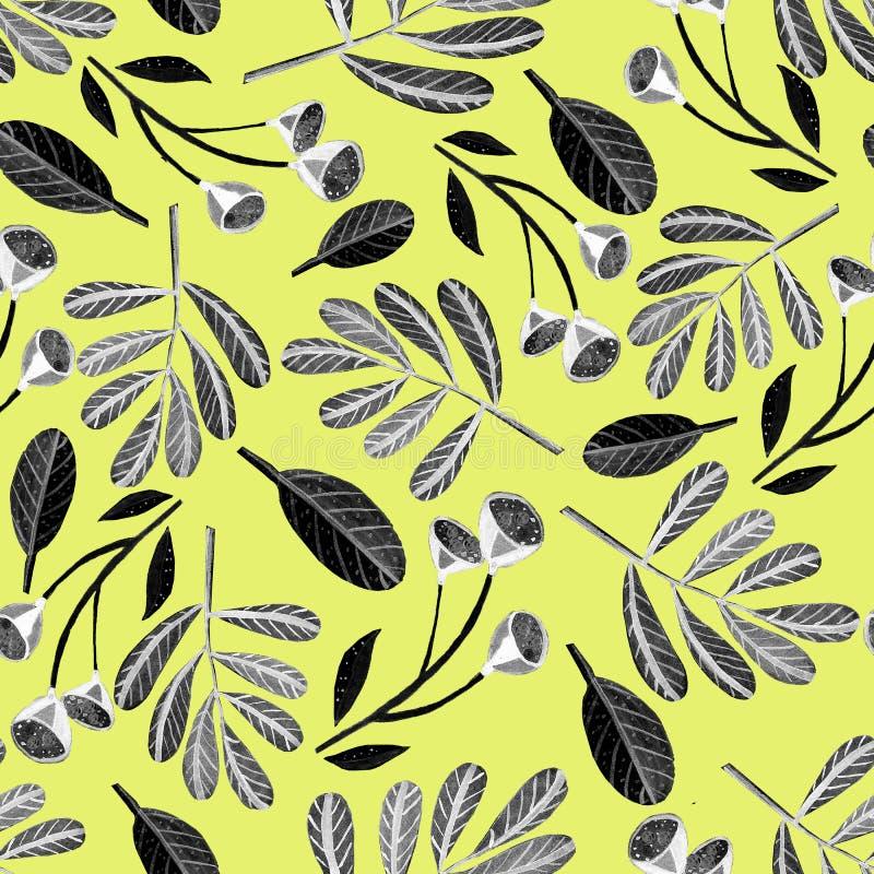 Naadloos patroon met zwart-witte bloemen, takken en bladeren royalty-vrije illustratie