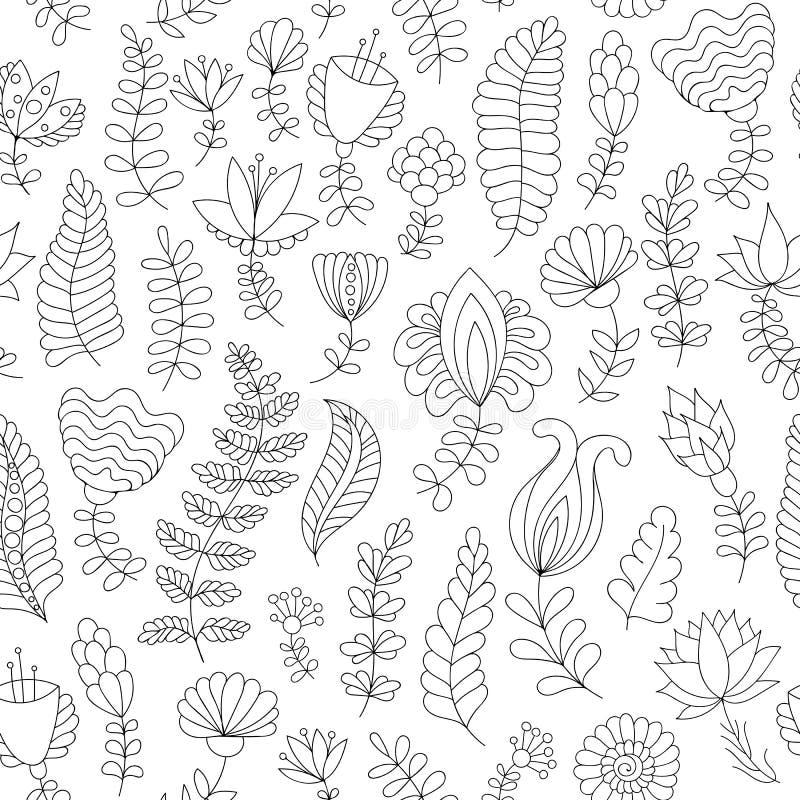 Naadloos patroon met zwart-witte krabbelbloemen royalty-vrije illustratie