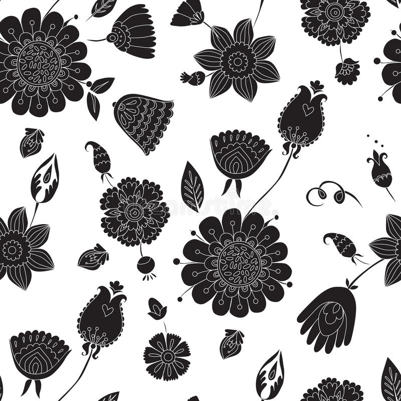 Naadloos patroon met zwarte bloemen op een witte achtergrond vector illustratie