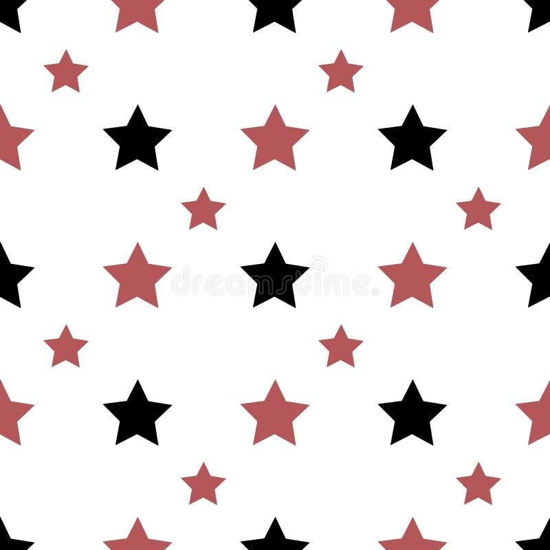Naadloos patroon met zwarte en rode sterren op witte achtergrond voor vleid, stof, textiel, kleding, kaarten, postkaarten royalty-vrije illustratie