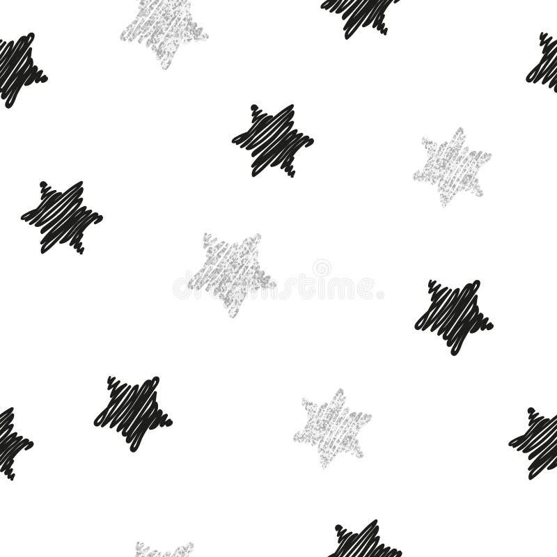 Naadloos patroon met zwarte en zilveren sterren stock illustratie