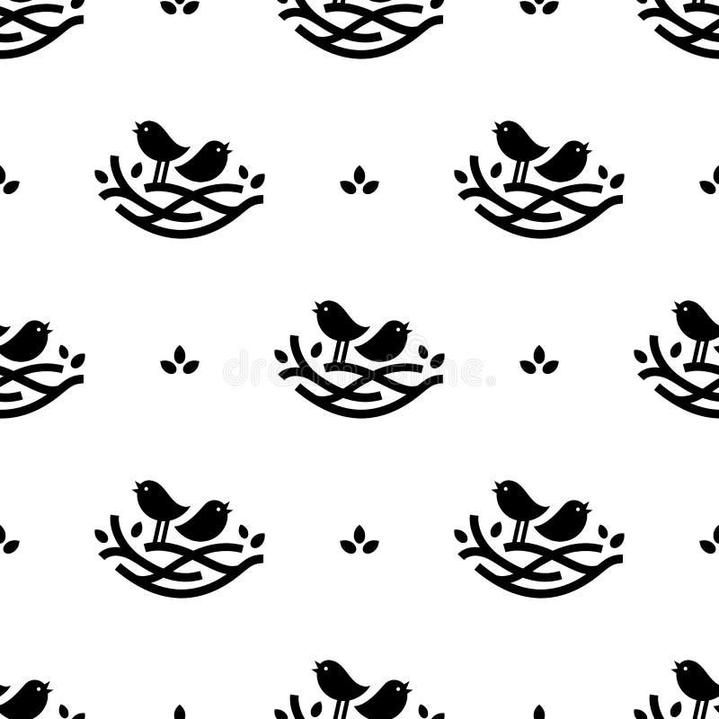 Naadloos patroon met zwarte het zingen vogels in nest in minimalistic stijl op witte achtergrond stock illustratie