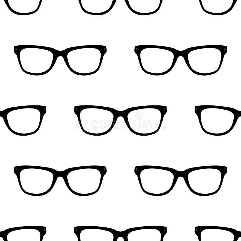 Naadloos patroon met zwarte Hipster-Glazen Unisex-zonnebriltextuur Vector illustratie Zwart-witte achtergrond royalty-vrije illustratie