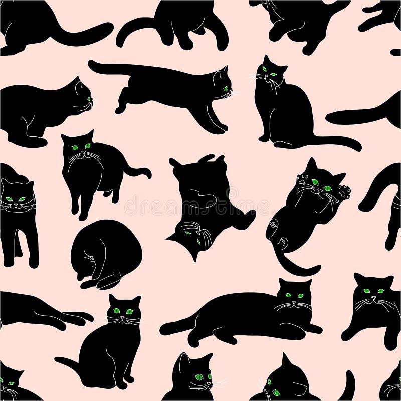Naadloos patroon met zwarte katten in diverse houdingen op beige achtergrond, handtekening stock illustratie