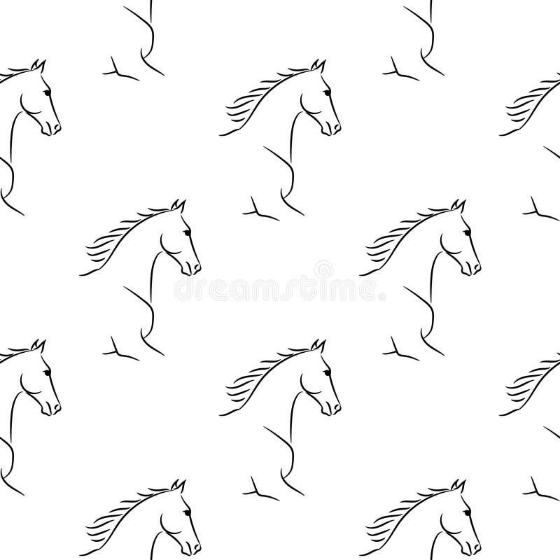 Naadloos patroon met zwarte paarden, witte achtergrond stock illustratie