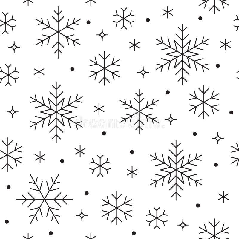 Naadloos patroon met zwarte sneeuwvlokken op witte achtergrond De vlakke lijn sneeuwende pictogrammen, leuke sneeuwvlokken herhal vector illustratie