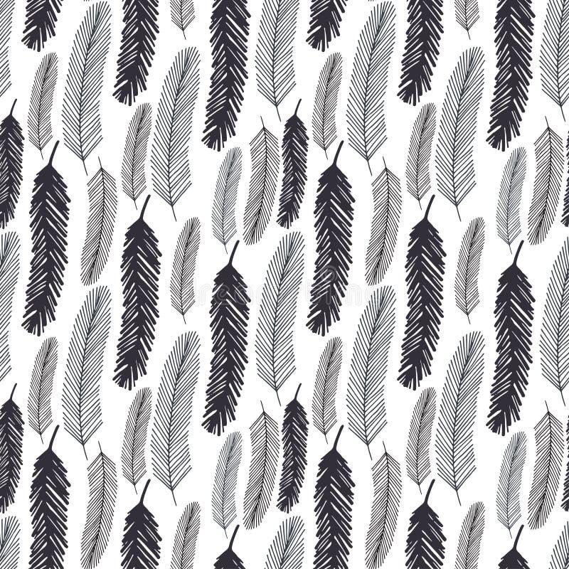 Naadloos patroon met zwarte veren Vector zwart-wit textuur voor het verpakken of textiel royalty-vrije illustratie