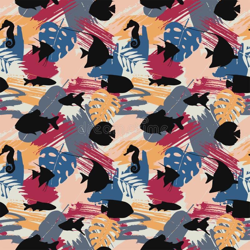 Naadloos patroon met zwarte vissen en tropische bladeren op abstracte waterverfvlekken stock illustratie