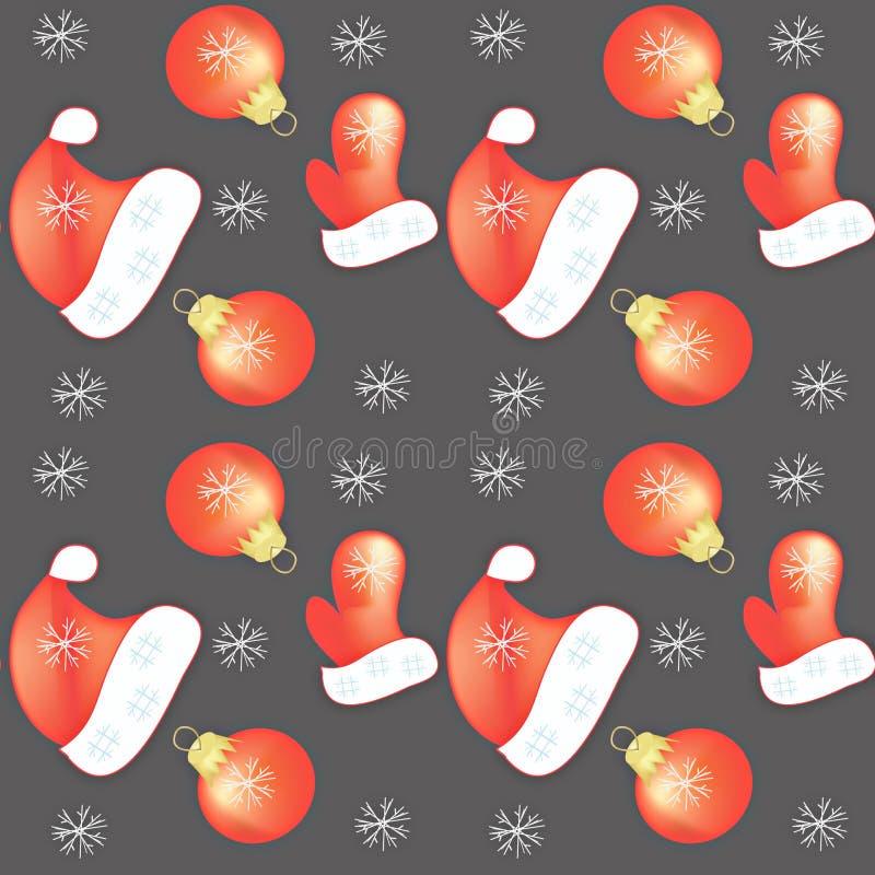Naadloos patroon Nieuw jaar, Kerstmis op grijze achtergrondvuisthandschoenhoed voor Santa Claus Christmas-boomstuk speelgoed rode stock illustratie