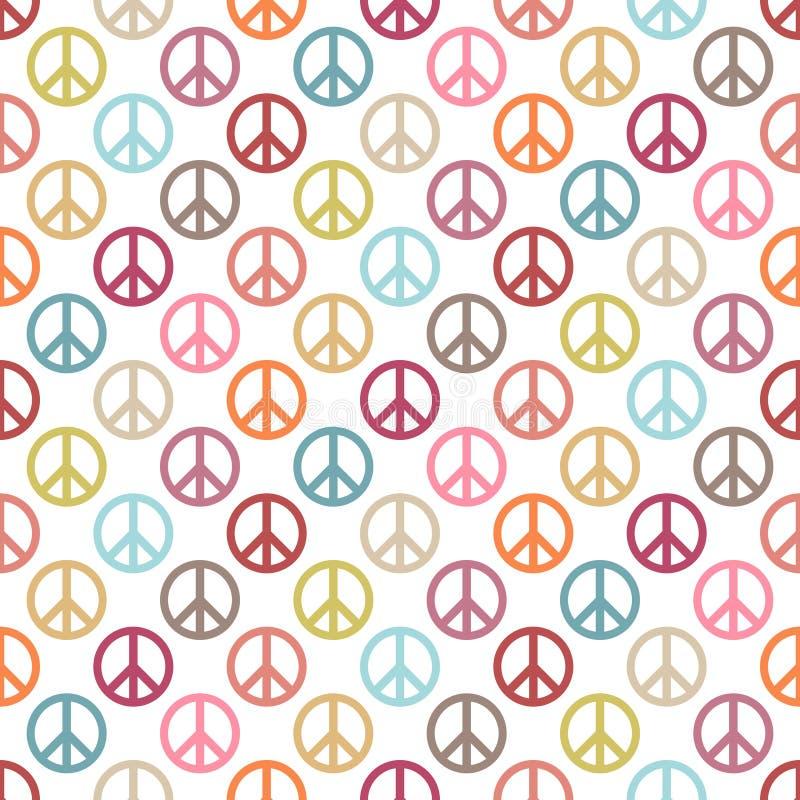 Naadloos Patroon om de Verschillende Retro Kleuren van het Vredespictogram vector illustratie