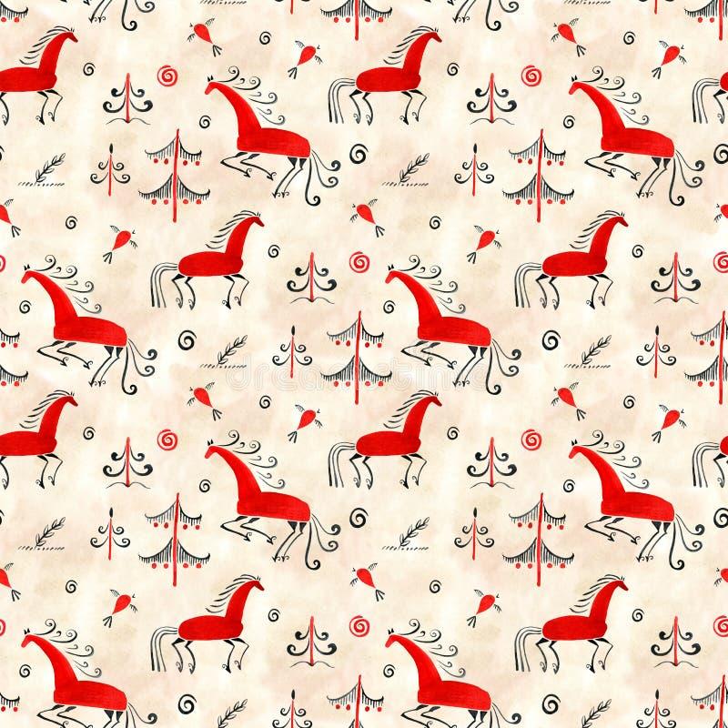 Naadloos patroon oosterling Mezen traditioneel het schilderen paard De illustratie van de waterverf vector illustratie