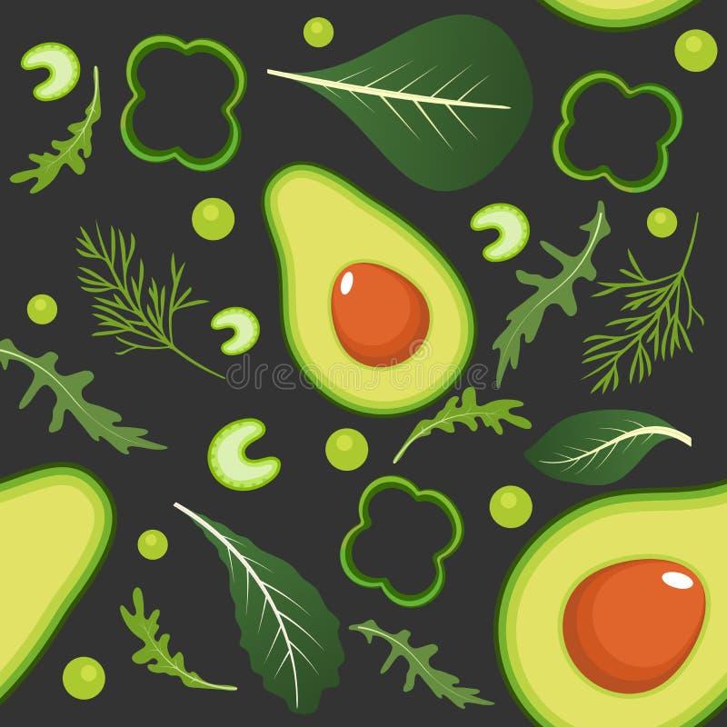 Naadloos patroon op donkere achtergrond met groene groenten Avocado, paprika, groene erwten, selderie, spinazie, arugula en vector illustratie