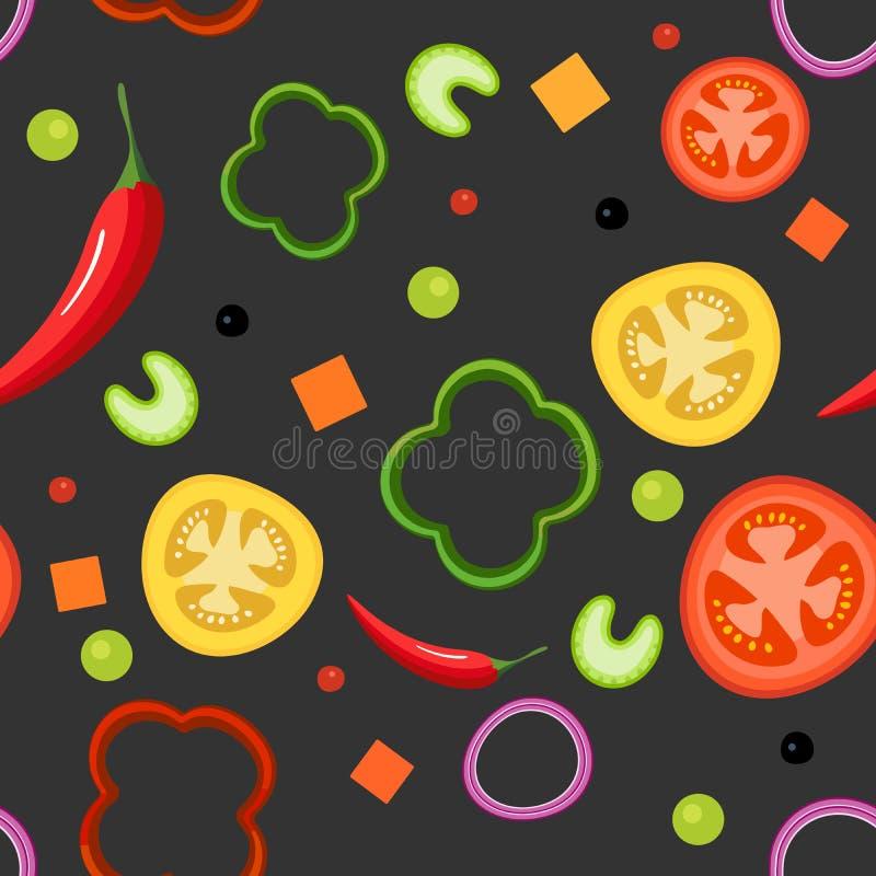 Naadloos patroon op donkere achtergrond met groenten Rode en gele tomaten, paprika, hete peper, uien, groene erwten stock illustratie