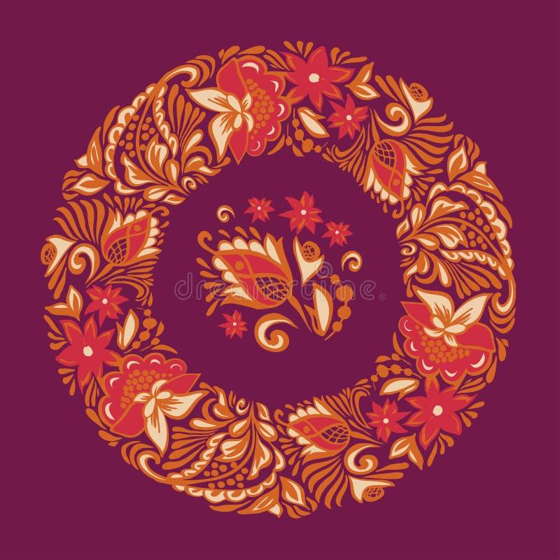 Naadloos patroon op een cirkel Bloemenornament van bladeren en bloemen Het Russische handwortel sier schilderen stock illustratie