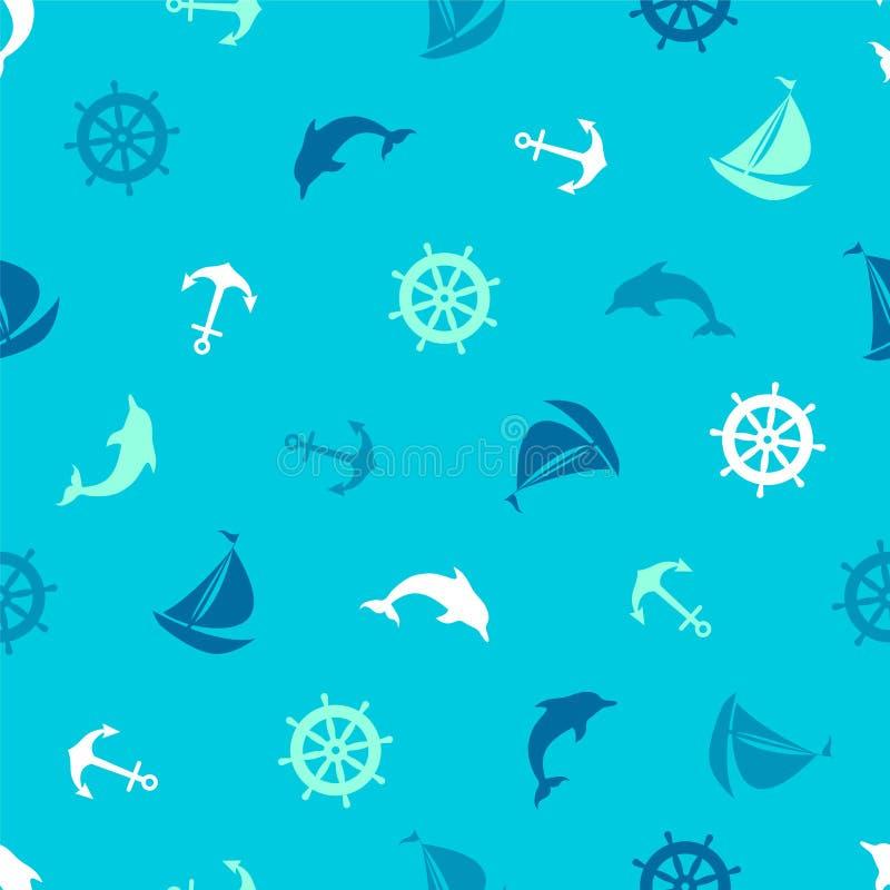 Naadloos Patroon op het mariene thema Anker, dolfijn, het sturen stock illustratie