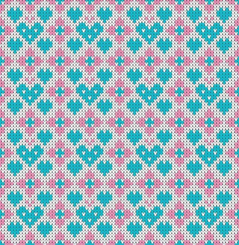 Naadloos patroon op het thema van de Dag van vakantievalentine ` s met een beeld van de Noor en fairisle de patronen turkooise ha royalty-vrije illustratie