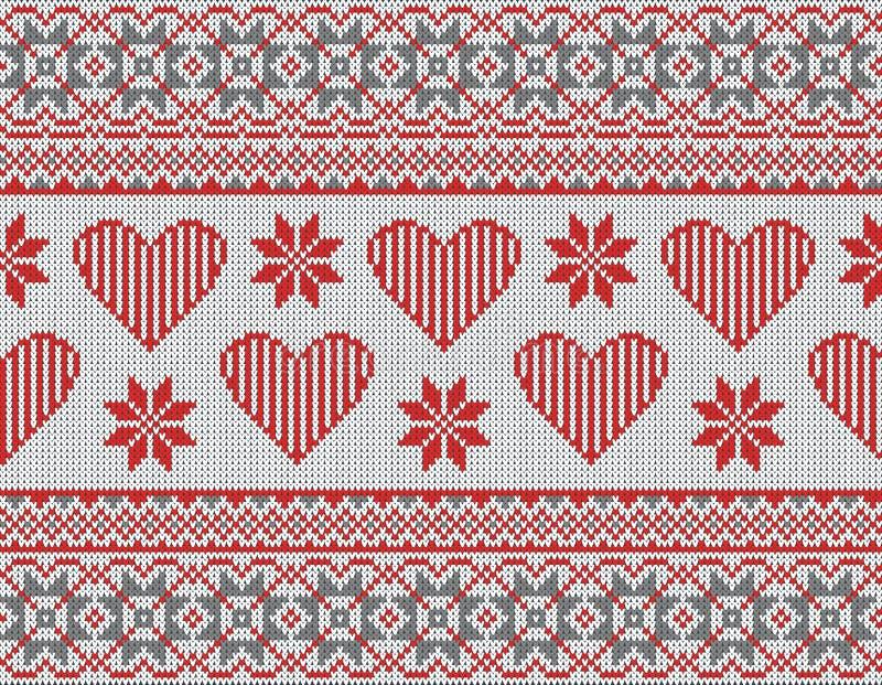 Naadloos patroon op het thema van de Dag van Valentine met een beeld van de Noorse patronen en de harten Gebreide wol stock illustratie