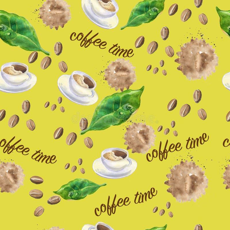 Naadloos patroon op het thema van koffie royalty-vrije illustratie